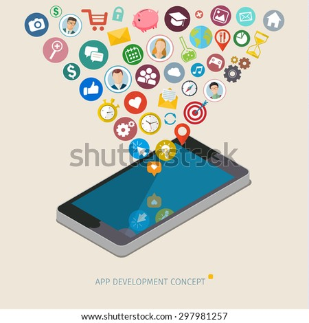 Mobile app development concept. Flat design vector illustration