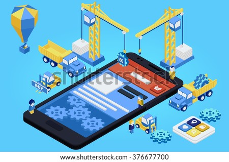 Mobile App Development, Experienced Team. Flat 3d isometric. Vector illustration - stock vector