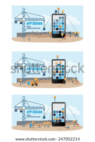 Mobile App Development, Experienced Team - Vector Illustration, Graphic Design, Editable For Your Design - stock vector