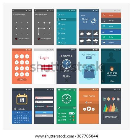 Mobile App different user interface elements. - stock vector