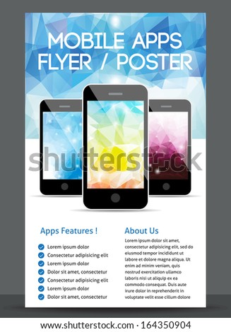 Mobile app flyer and poster design - stock vector