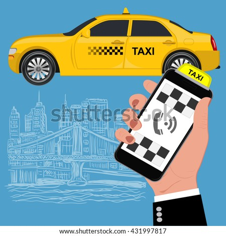 Mobile app for booking taxi service. Flat vector illustration for business, info graphic, banner, presentation
