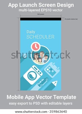Mobile App Launch Screen Vector Template - stock vector