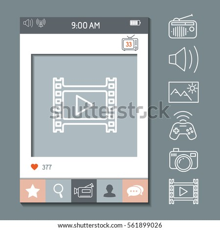 Mobile App Photo Video Frame Template Stock Vector 561899026 ...
