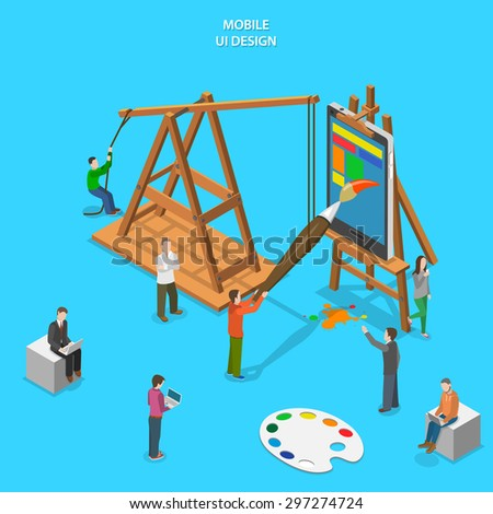Mobile app UI design flat isometric vector concept. People paint smartphone which stands on easel. - stock vector