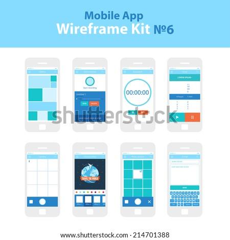 Mobile App Ui Kit 6. Gallery screen, voice memos screen, stopwatch screen, timer screen, camera screen, choose effect screen, photo archive screen, e-mail screen - stock vector