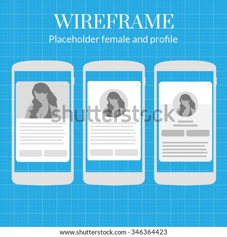 Mobile app wire frame blueprint kit stock vector royalty free mobile app wire frame blueprint kit female profile picture placeholder profile screen information malvernweather Gallery