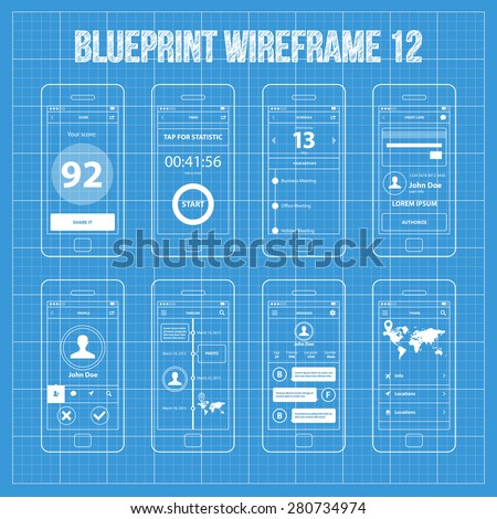 Feed activity mobile app ui wireframe stock vector 308498390 mobile app wireframe blueprint ui kit 12 score screen timer screen schedule screen malvernweather Gallery