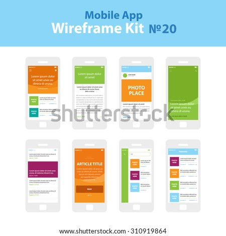 Mobile App Wireframe Ui Kit 20. Article post main screen, article read screen, user profile articles list screen, main photo with headline screen, post list screen, article title screen, search. - stock vector