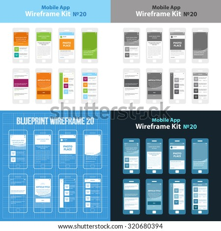 Mobile App Wireframe Ui Kit 20. Article post main screen, article read screen, user profile articles list screen, main photo with headline screen, post list screen, article title screen, search - stock vector