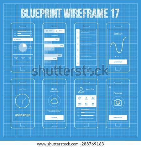 Mobile app wireframe ui kit 17 statistics stock vector 288769163 mobile app wireframe ui kit 17atistics screen information screen timeline screen malvernweather Choice Image