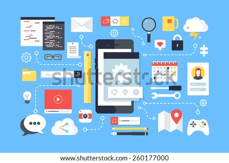 Mobile application development, smartphone app programming. Flat design style modern vector illustration. - stock vector