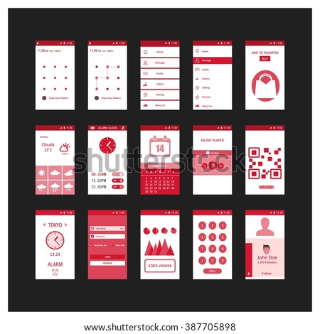 Mobile application interface concept. Vector Illustration, Android Flat Interface. Easy-edit vector EPS10 file. set of flat Application design. user profile. Red different user interface elements. - stock vector