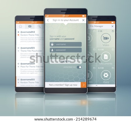 Mobile application interface concept. Vector Illustration, eps10, contains transparencies. - stock vector
