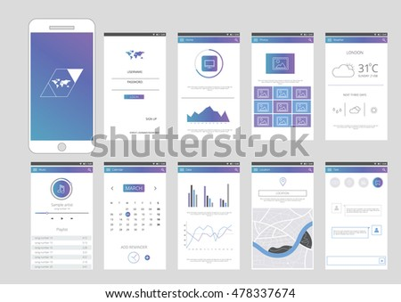 Mobile application interface design with Infographic elements