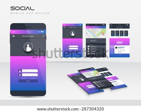 Mobile application interface vector design - stock vector