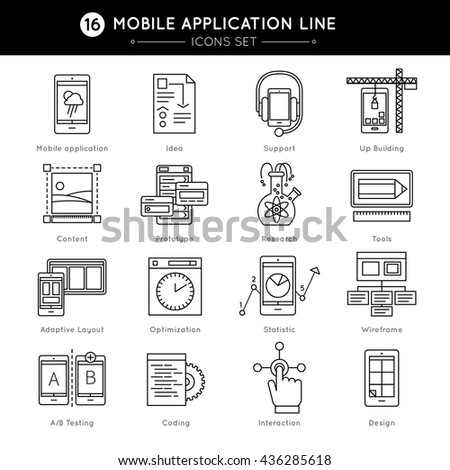 Mobile Application Line Icon Set with descriptions of coding design prototype wireframe optimization statistics in line style vector illustration - stock vector