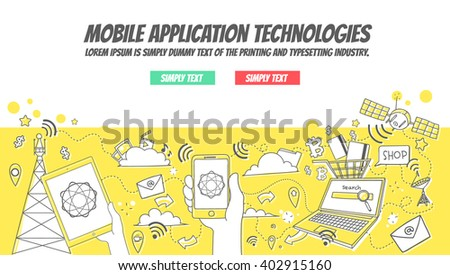 Mobile Application Technologies - Doodle style - stock vector