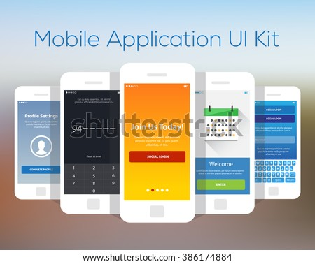 Mobile Application UI Kit Collection Set. Join us screen, number security screen, profile settings screen, calendar planning screen, social login screen. - stock vector