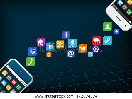 Mobile applications, business software and media networking service concept: modern touchscreen smartphones with cloud of color application icons isolated on dark background - stock vector