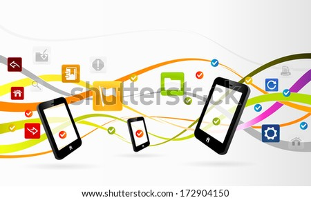 Mobile applications concept abstract vector illustration - stock vector