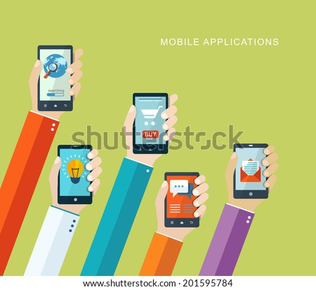 Mobile applications concept. Hand with phones flat illustration. eps10 - stock vector