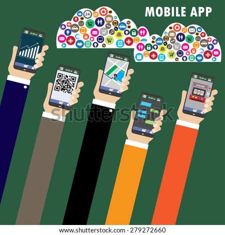 Mobile applications concept. Hand with phones flat vector illustration.  - stock vector
