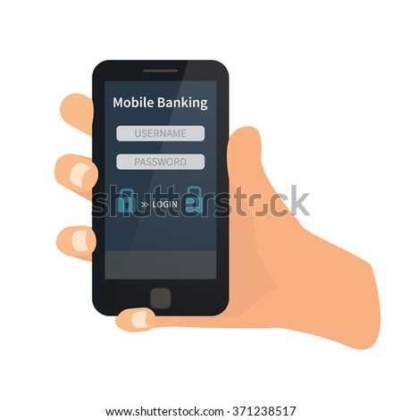 Mobile bank interface. Hand holding mobile. Flat vector
