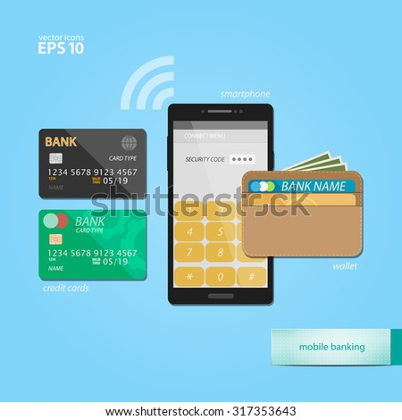mobile banking and electronic wallet concept with credit cards and safe smartphone application. vector flat design icons