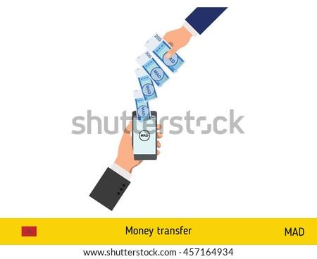 Mobile banking concept. Dirham banknote. Transferring Money vector illustration - stock vector