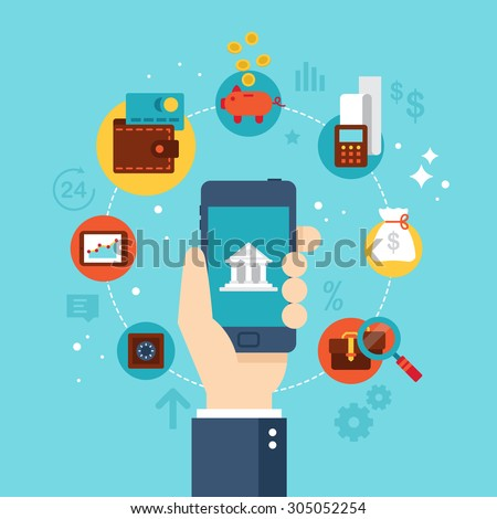 Mobile banking concept. Flat stylish icon design - stock vector