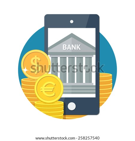 Mobile banking concept icon. Bank in smartphone with money. Flat vector illustration - stock vector