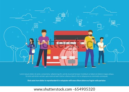 Mobile banking concept illustration of people standing near credit cards and using mobile smart phone for online banking and accounting. Flat men and women with credit cards and bank money symbols
