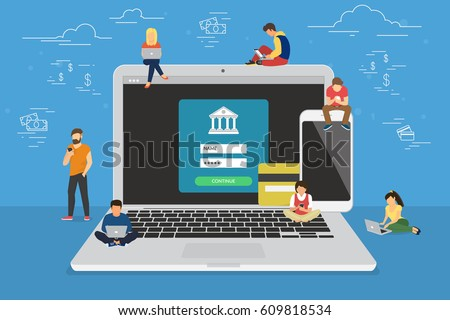 Mobile banking concept illustration of people using laptop and mobile smart phone for online banking and accounting. Flat men and women near big gadgets with credit cards and bank symbols