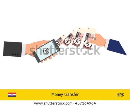 Mobile banking concept. Kuna banknote. Transferring Money vector illustration - stock vector