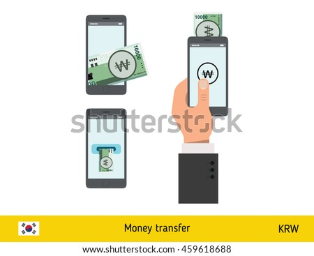 Mobile banking concept. Won banknote. Transferring Money vector illustration - stock vector