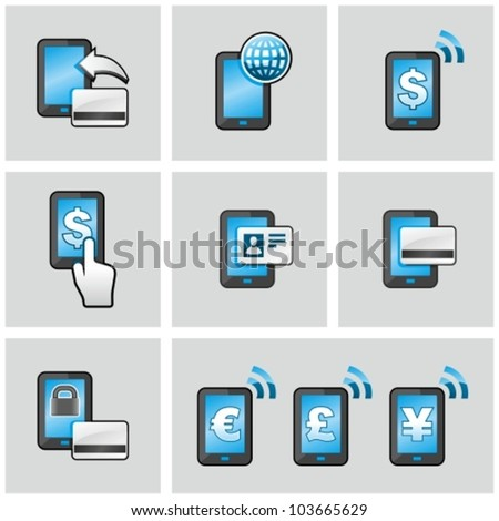 Mobile banking icons set. Pay by mobile. E-commerce.