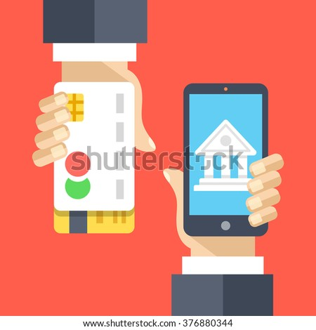 Mobile banking, internet banking, mobile payment flat illustration. Modern flat design concepts for web banners, websites, printed materials, mobile app, infographics. Creative vector illustration - stock vector