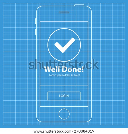 Mobile blueprint wireframe app screen success stock vector 270884819 mobile blueprint wireframe app screen success screen which can be used as a mockup for malvernweather Gallery