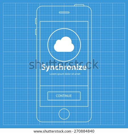 Mobile blueprint wireframe app screen. Synchronize screen which can be used as a mockup for your mobile application. - stock vector