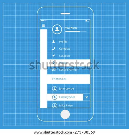 Mobile blueprint wireframe ui kit sidebar stock vector 273738569 mobile blueprint wireframe ui kit sidebar menu screen malvernweather Image collections