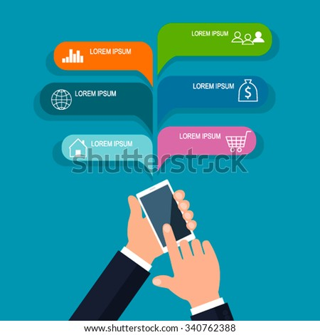 Mobile business template. Vector illustration. can be used for placement of the chart, the number of options, activate the option, web design, templates, banners, infographics. - stock vector