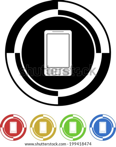 Mobile button mosaic retro colors - stock vector