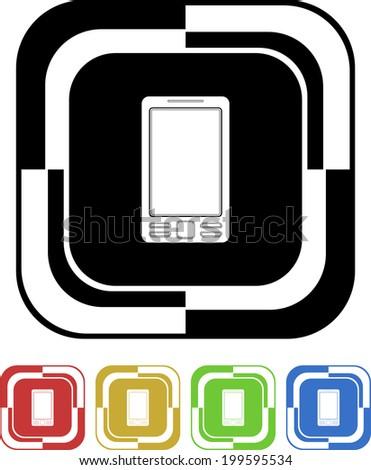 Mobile button mosaic square retro colors - stock vector