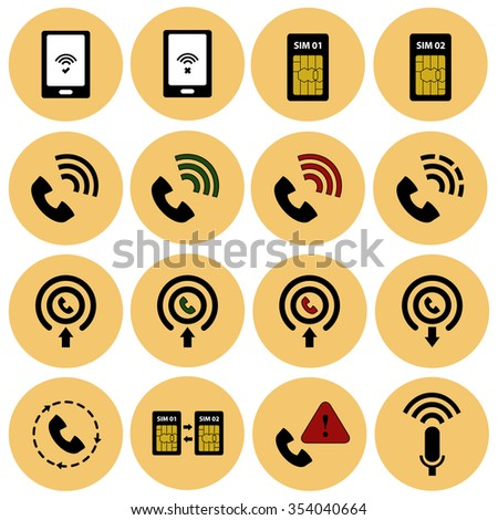 Mobile card and communications vector icon set