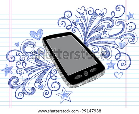 Mobile Cell Phone PDA Sketchy Hand-Drawn Notebook Doodles with Swirls, Hearts, and Shooting Stars- Vector Illustration Design Elements on Lined Sketchbook Paper Background - stock vector
