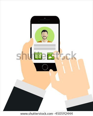 Mobile Cell Smart Phone Call Hands Touch screen. Modern concept for web banners, web sites, infographics. Creative flat design vector illustration