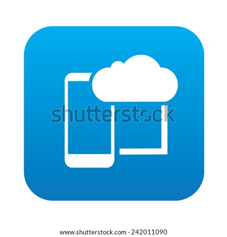 Mobile cloud computing on blue button,clean vector - stock vector