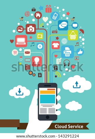 Mobile Cloud Service - stock vector