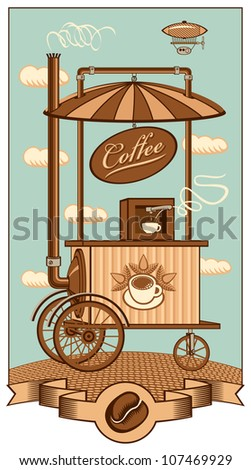 Mobile coffee shop under a sky with clouds